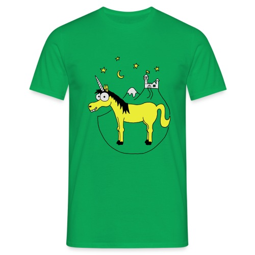 Einhorn mit Burg, Unicorn, Märchen, Pferd, Sterne T-Shirts - Männer T-Shirt