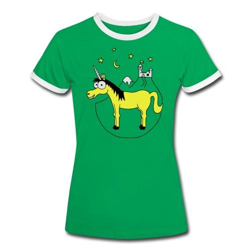 Einhorn mit Burg, Unicorn, Märchen, Pferd, Sterne T-Shirts - Frauen Kontrast-T-Shirt