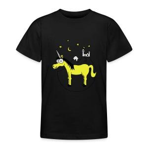 Einhorn mit Burg, Unicorn, Märchen, Pferd, Sterne T-Shirts - Teenager T-Shirt