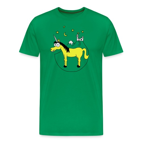 Einhorn mit Burg, Unicorn, Märchen, Pferd, Sterne T-Shirts - Männer Premium T-Shirt