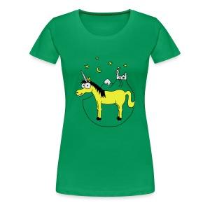 Einhorn mit Burg, Unicorn, Märchen, Pferd, Sterne T-Shirts - Frauen Premium T-Shirt
