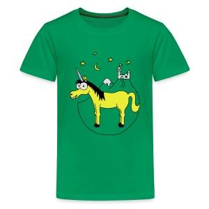 Einhorn mit Burg, Unicorn, Märchen, Pferd, Sterne T-Shirts - Teenager Premium T-Shirt