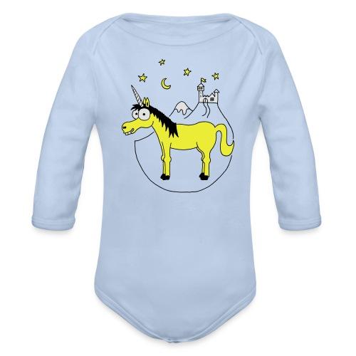 Einhorn mit Burg, Unicorn, Märchen, Pferd, Sterne T-Shirts - Baby Bio-Langarm-Body