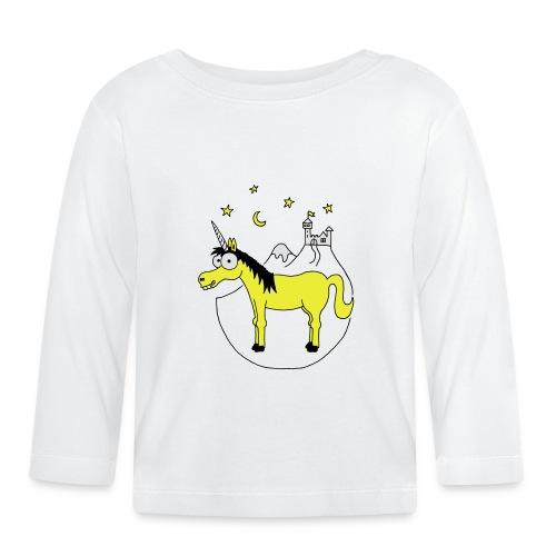 Einhorn mit Burg, Unicorn, Märchen, Pferd, Sterne T-Shirts - Baby Langarmshirt