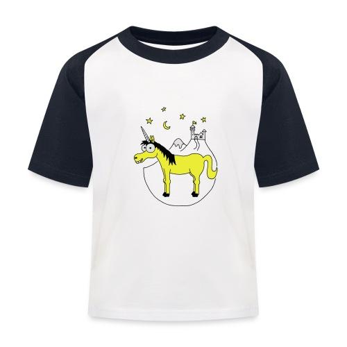 Einhorn mit Burg, Unicorn, Märchen, Pferd, Sterne T-Shirts - Kinder Baseball T-Shirt