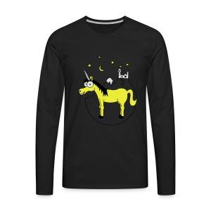 Einhorn mit Burg, Unicorn, Märchen, Pferd, Sterne T-Shirts - Männer Premium Langarmshirt