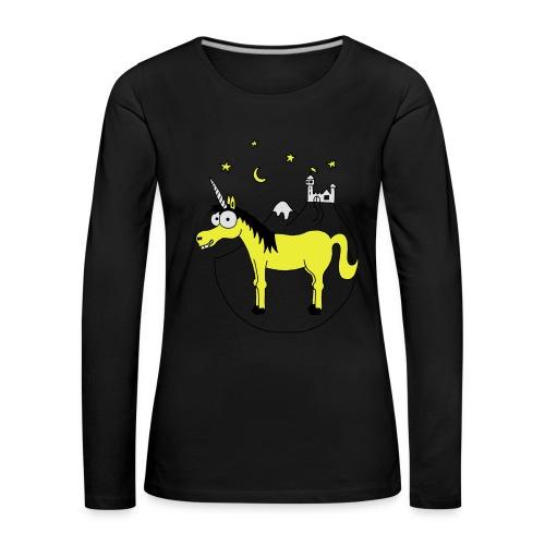 Einhorn mit Burg, Unicorn, Märchen, Pferd, Sterne T-Shirts - Frauen Premium Langarmshirt