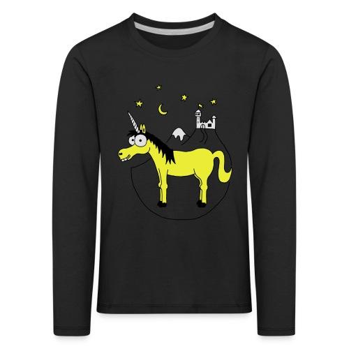 Einhorn mit Burg, Unicorn, Märchen, Pferd, Sterne T-Shirts - Kinder Premium Langarmshirt