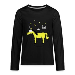 Einhorn mit Burg, Unicorn, Märchen, Pferd, Sterne T-Shirts - Teenager Premium Langarmshirt