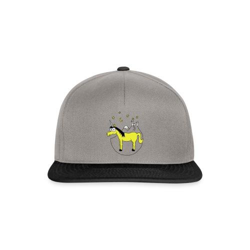 Einhorn mit Burg, Unicorn, Märchen, Pferd, Sterne T-Shirts - Snapback Cap