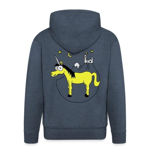 Einhorn mit Burg, Unicorn, Märchen, Pferd, Sterne T-Shirts - Männer Premium Kapuzenjacke