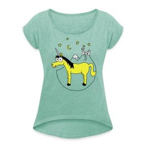 Einhorn mit Burg, Unicorn, Märchen, Pferd, Sterne T-Shirts - Frauen T-Shirt mit gerollten Ärmeln