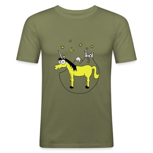 Einhorn mit Burg, Unicorn, Märchen, Pferd, Sterne T-Shirts - Männer Slim Fit T-Shirt