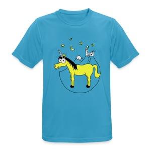Einhorn mit Burg, Unicorn, Märchen, Pferd, Sterne T-Shirts - Männer T-Shirt atmungsaktiv
