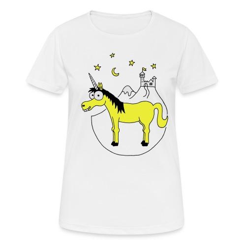 Einhorn mit Burg, Unicorn, Märchen, Pferd, Sterne T-Shirts - Frauen T-Shirt atmungsaktiv