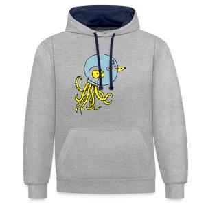 Tintenfisch trifft Uboot, Meer, tauchen, Boot T-Shirts - Kontrast-Hoodie