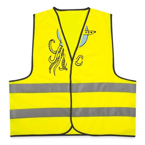 Tintenfisch trifft Uboot, Meer, tauchen, Boot T-Shirts - Warnweste
