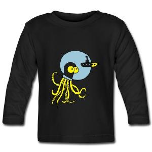 Tintenfisch trifft Uboot, Meer, tauchen, Boot T-Shirts - Baby Langarmshirt