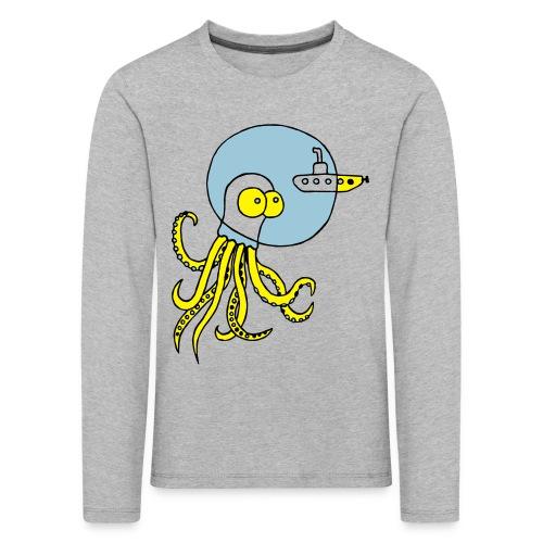 Tintenfisch trifft Uboot, Meer, tauchen, Boot T-Shirts - Kinder Premium Langarmshirt