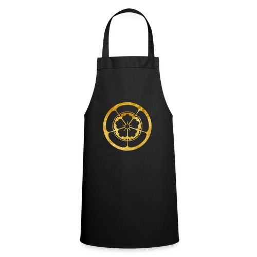 Oda Mon Japanese samurai clan gold on black - Cooking Apron