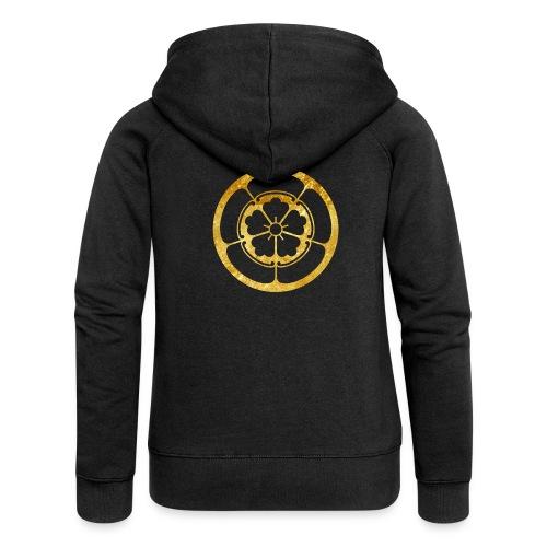 Oda Mon Japanese samurai clan gold on black - Women's Premium Hooded Jacket