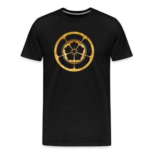 Oda Mon Japanese samurai clan gold on black - Men's Premium T-Shirt