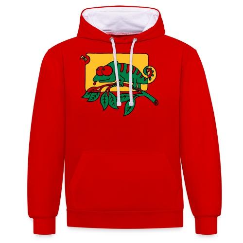 Chamaeleon und Fliege, Farbe, Urwald, Tier, lustig T-Shirts - Kontrast-Hoodie