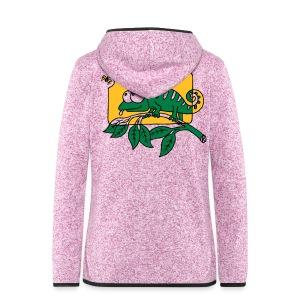 Chamaeleon und Fliege, Farbe, Urwald, Tier, lustig T-Shirts - Frauen Kapuzen-Fleecejacke