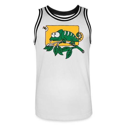 Chamaeleon und Fliege, Farbe, Urwald, Tier, lustig T-Shirts - Männer Basketball-Trikot