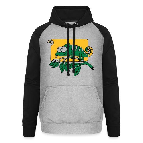 Chamaeleon und Fliege, Farbe, Urwald, Tier, lustig T-Shirts - Unisex Baseball Hoodie
