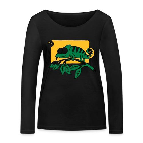 Chamaeleon und Fliege, Farbe, Urwald, Tier, lustig T-Shirts - Frauen Bio-Langarmshirt von Stanley & Stella