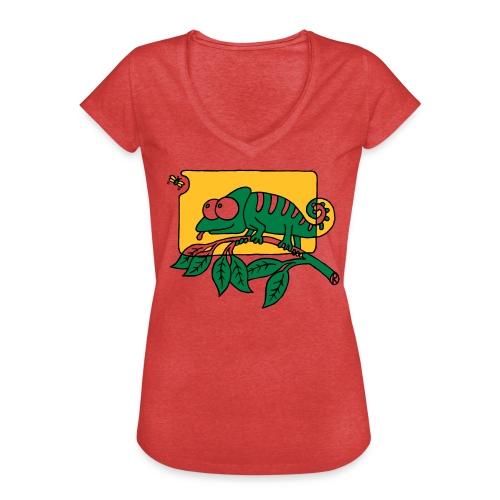 Chamaeleon und Fliege, Farbe, Urwald, Tier, lustig T-Shirts - Frauen Vintage T-Shirt