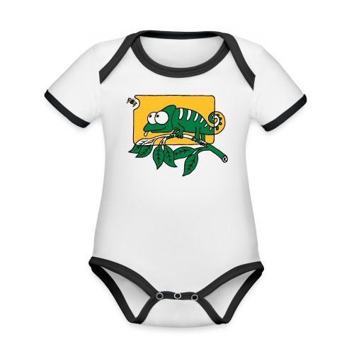 Chamaeleon und Fliege, Farbe, Urwald, Tier, lustig T-Shirts - Baby Bio-Kurzarm-Kontrastbody