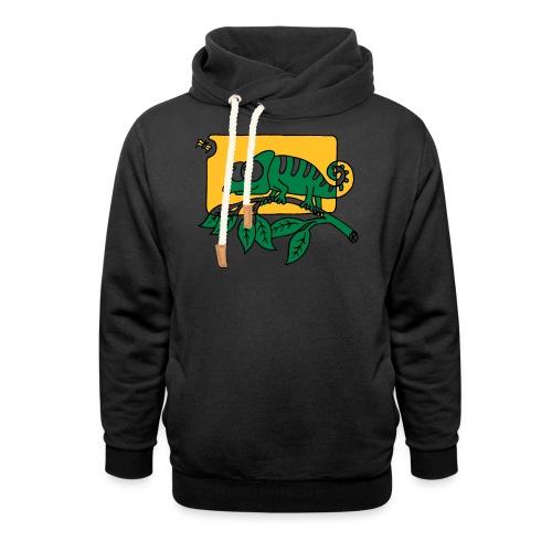 Chamaeleon und Fliege, Farbe, Urwald, Tier, lustig T-Shirts - Schalkragen Hoodie