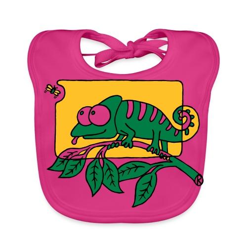 Chamaeleon und Fliege, Farbe, Urwald, Tier, lustig T-Shirts - Baby Bio-Lätzchen
