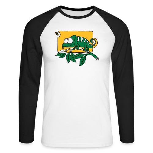 Chamaeleon und Fliege, Farbe, Urwald, Tier, lustig T-Shirts - Männer Baseballshirt langarm