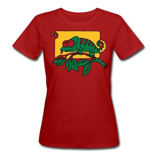 Chamaeleon und Fliege, Farbe, Urwald, Tier, lustig T-Shirts - Frauen Bio-T-Shirt