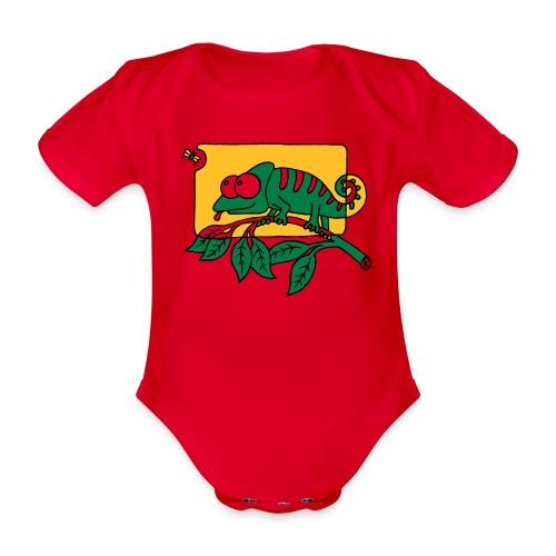 Chamaeleon und Fliege, Farbe, Urwald, Tier, lustig T-Shirts - Baby Bio-Kurzarm-Body