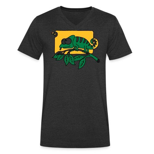 Chamaeleon und Fliege, Farbe, Urwald, Tier, lustig T-Shirts - Männer Bio-T-Shirt mit V-Ausschnitt von Stanley & Stella