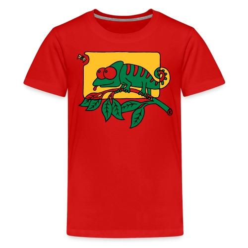 Chamaeleon und Fliege, Farbe, Urwald, Tier, lustig T-Shirts - Teenager Premium T-Shirt