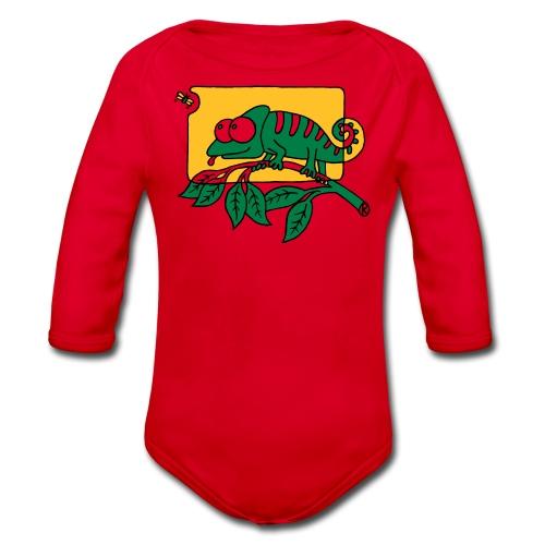 Chamaeleon und Fliege, Farbe, Urwald, Tier, lustig T-Shirts - Baby Bio-Langarm-Body