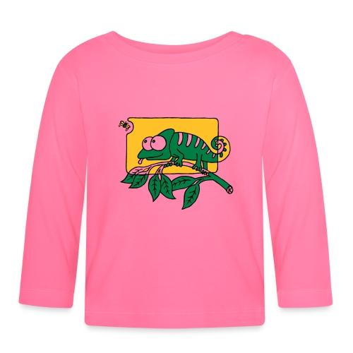 Chamaeleon und Fliege, Farbe, Urwald, Tier, lustig T-Shirts - Baby Langarmshirt