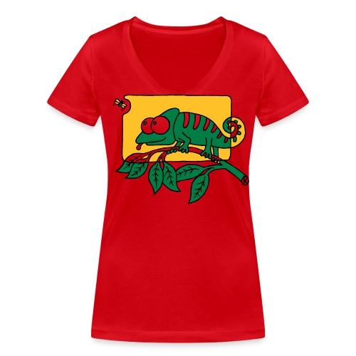 Chamaeleon und Fliege, Farbe, Urwald, Tier, lustig T-Shirts - Frauen Bio-T-Shirt mit V-Ausschnitt von Stanley & Stella
