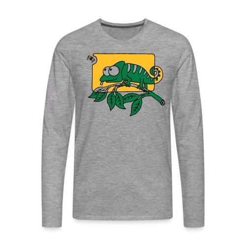 Chamaeleon und Fliege, Farbe, Urwald, Tier, lustig T-Shirts - Männer Premium Langarmshirt