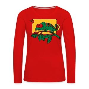 Chamaeleon und Fliege, Farbe, Urwald, Tier, lustig T-Shirts - Frauen Premium Langarmshirt