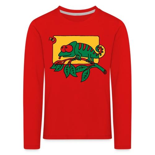 Chamaeleon und Fliege, Farbe, Urwald, Tier, lustig T-Shirts - Kinder Premium Langarmshirt