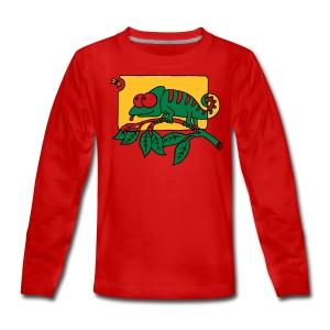 Chamaeleon und Fliege, Farbe, Urwald, Tier, lustig T-Shirts - Teenager Premium Langarmshirt