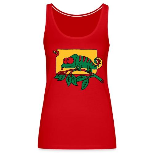 Chamaeleon und Fliege, Farbe, Urwald, Tier, lustig T-Shirts - Frauen Premium Tank Top