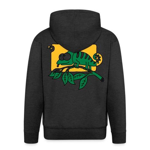 Chamaeleon und Fliege, Farbe, Urwald, Tier, lustig T-Shirts - Männer Premium Kapuzenjacke