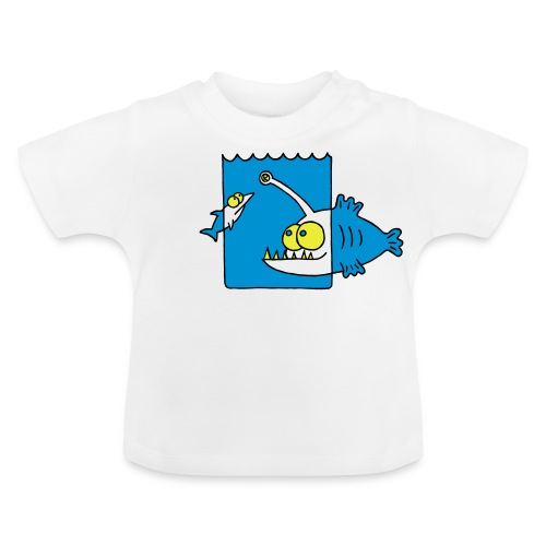 der Anglerfisch leuchtet den Weg, Lampe, angeln Langarmshirts - Baby T-Shirt